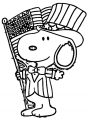 Snoopy Happy 4th Of July Cartoon Coloring Page 2