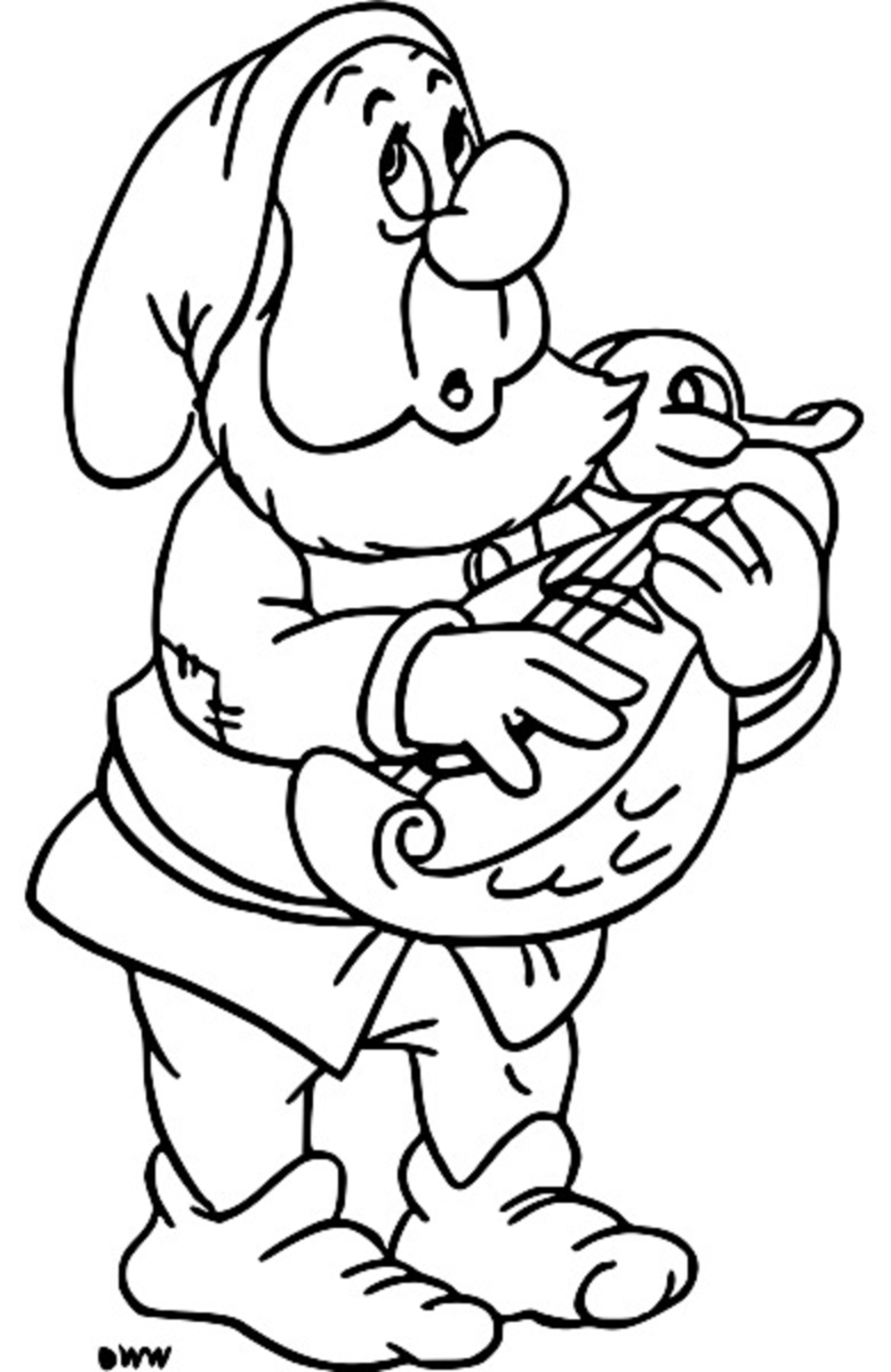 Snow White Disney Sneezy Coloring Page 04