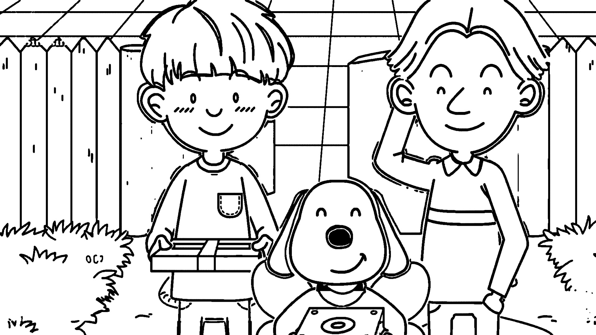 Speaking Cartoon Kids Coloring Page 02