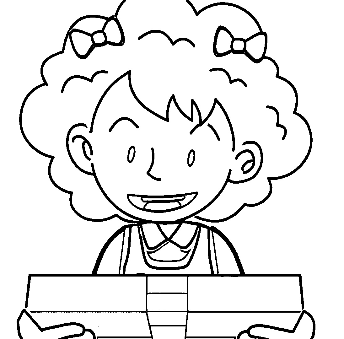 Speaking Cartoon Kids Coloring Page 07