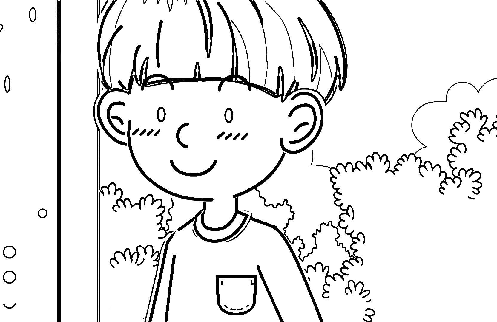 Speaking Cartoon Kids Coloring Page 09