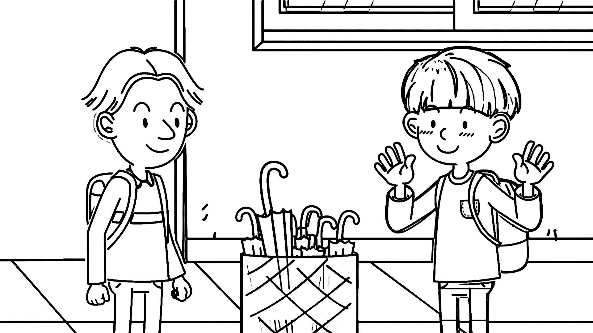 Speaking Cartoon Kids Coloring Page 31