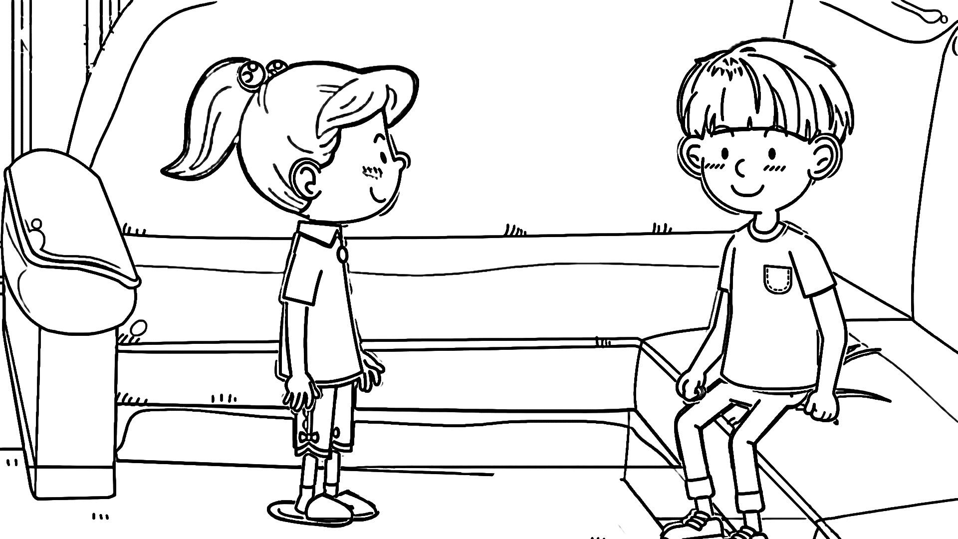 Speaking Cartoon Kids Coloring Page 38