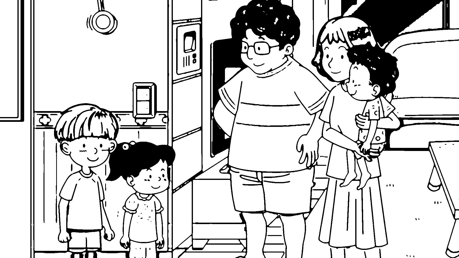 Speaking Cartoon Kids Coloring Page 45