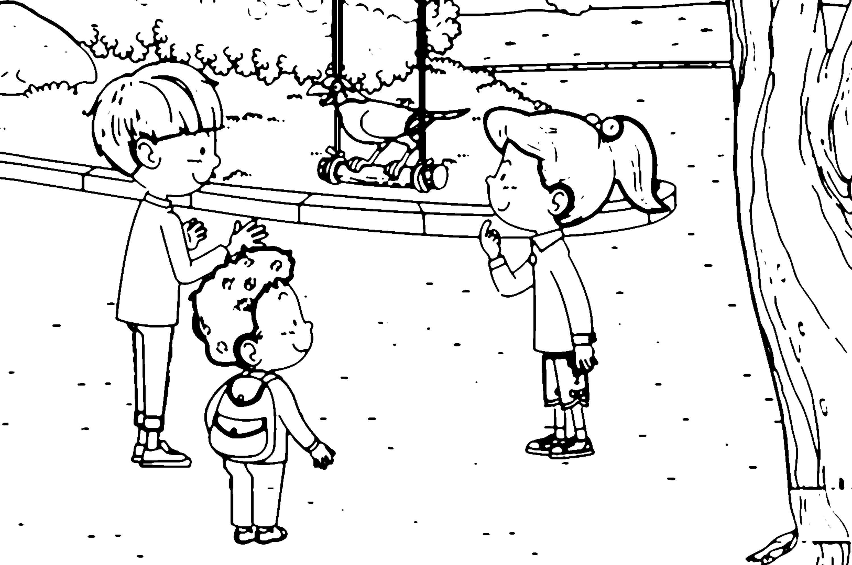 Speaking Cartoon Kids Coloring Page 57