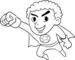 Superhero Kid Coloring Page 03