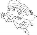 Superhero Kid Girl Coloring Page 04