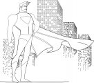 Superhero in the city coloring page