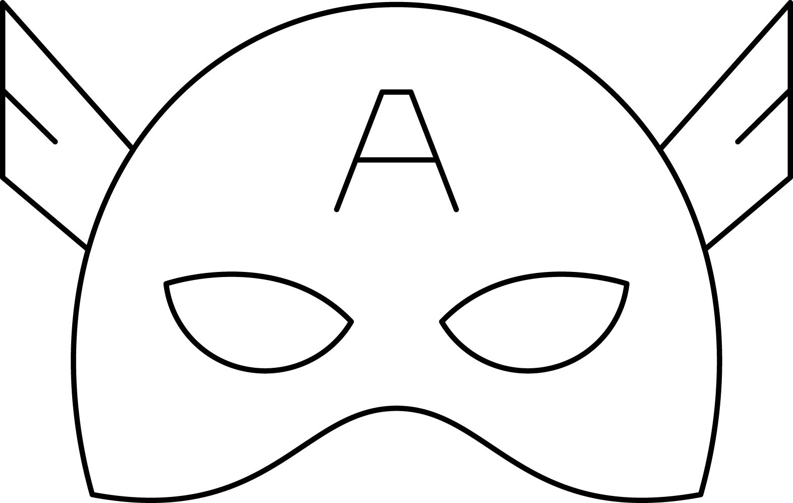 Superheroes Super Hero Mask Coloring Page 03 Captain America