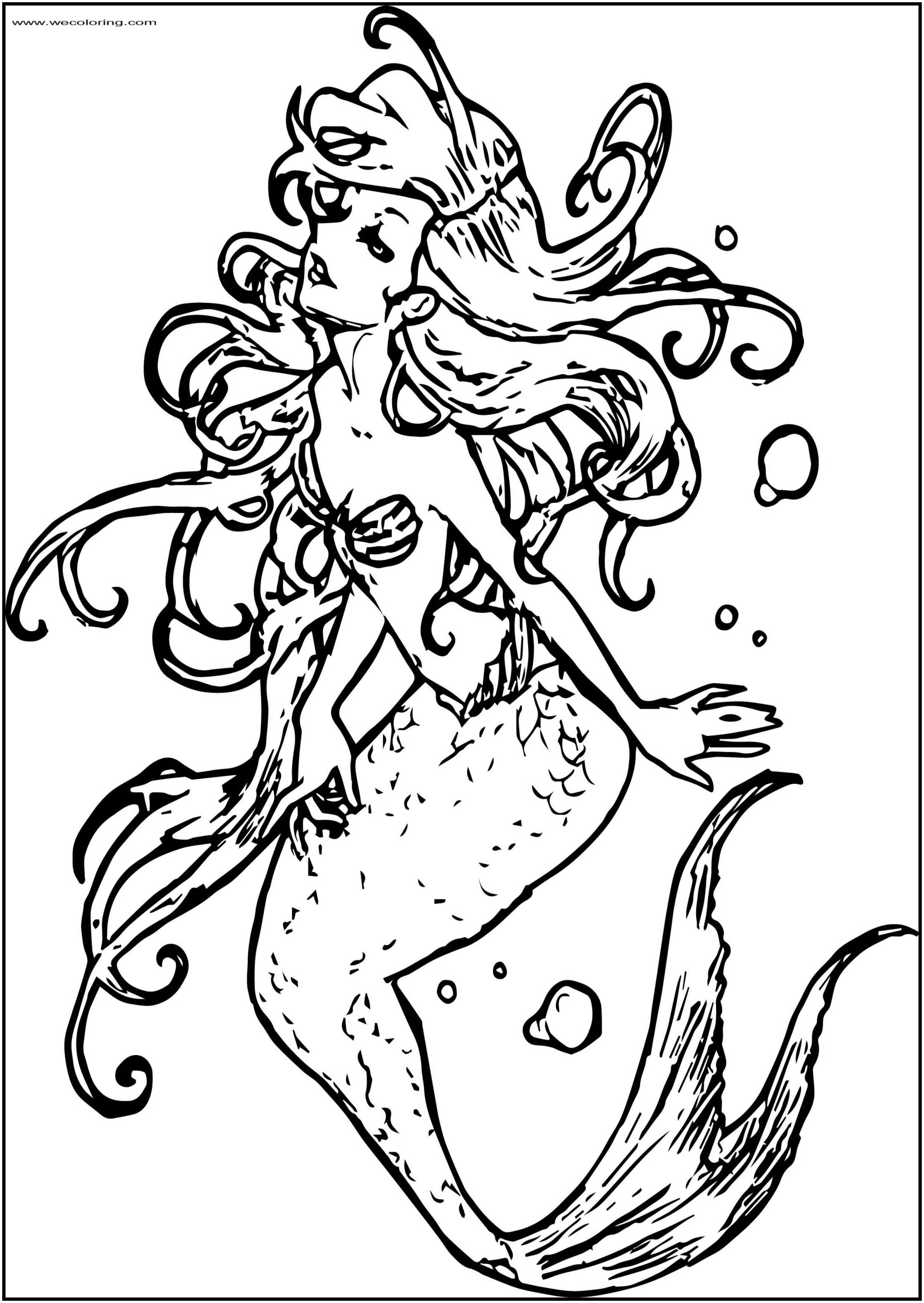 The Ariel Mermaid Free Printable Coloring Page