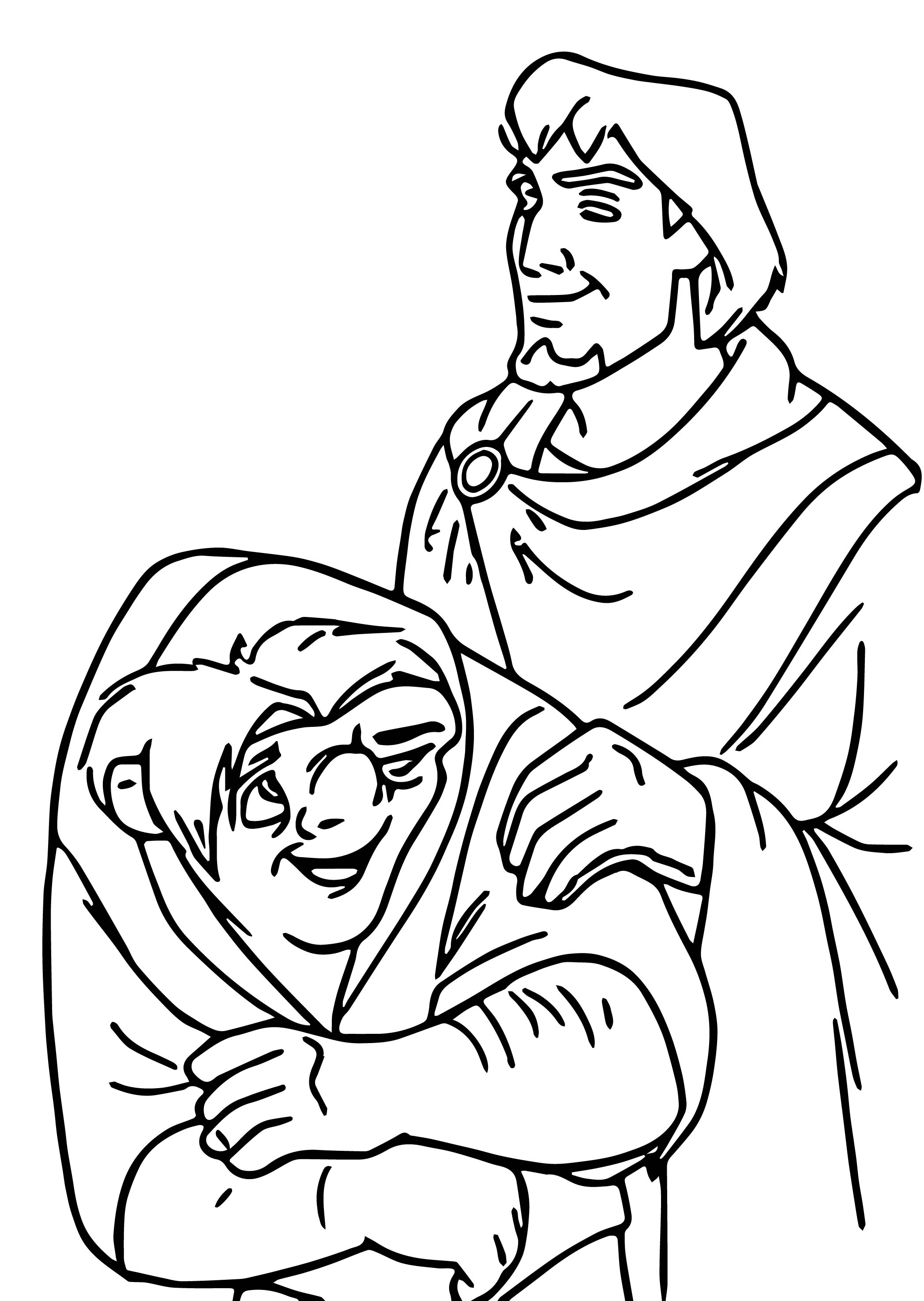 The Hunchback Of Notre Dame Quasi Phoebus Cartoon Coloring Pages