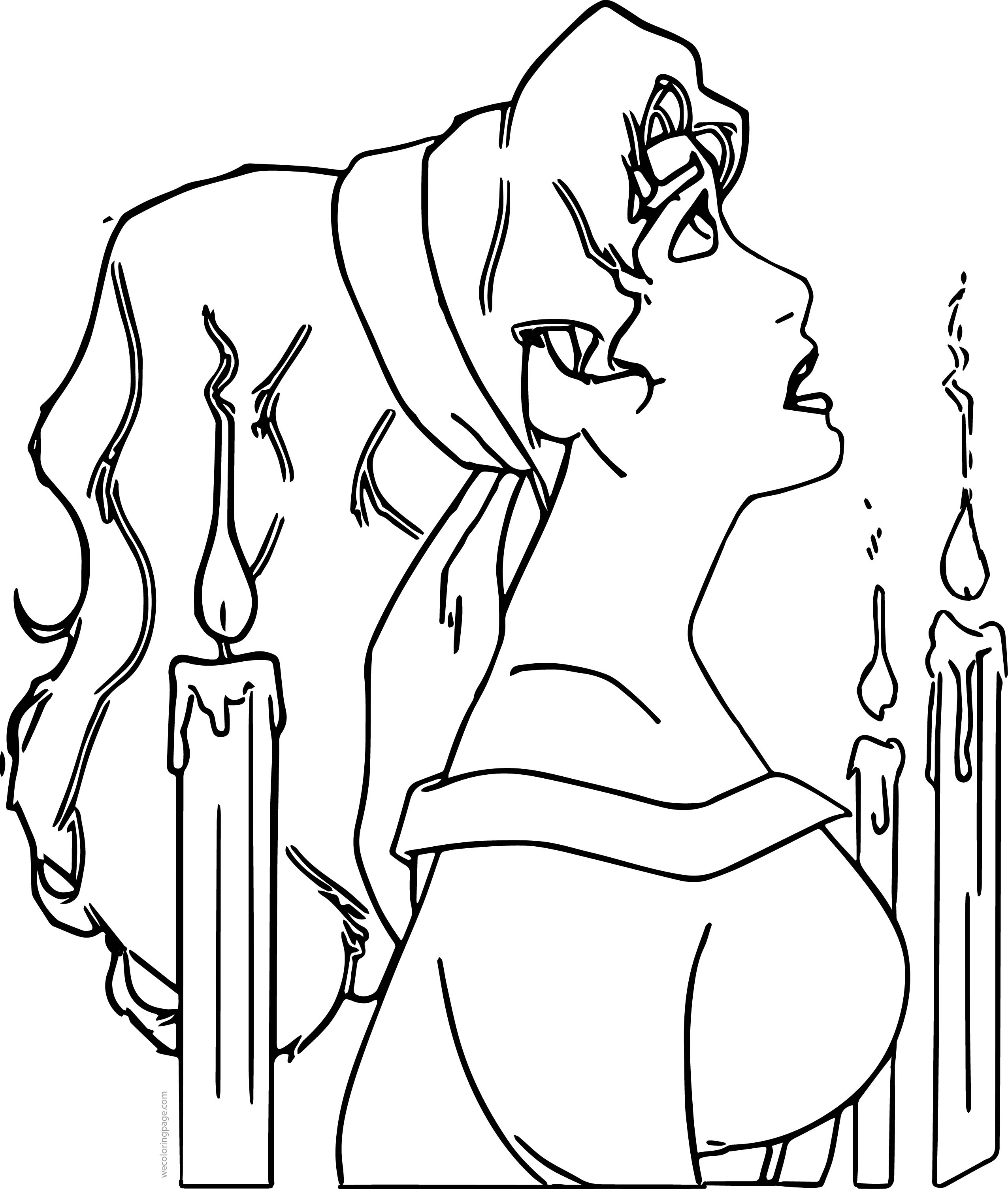 The Hunchback of Notre Dame Candles Girl Prayer Cartoon Coloring Page