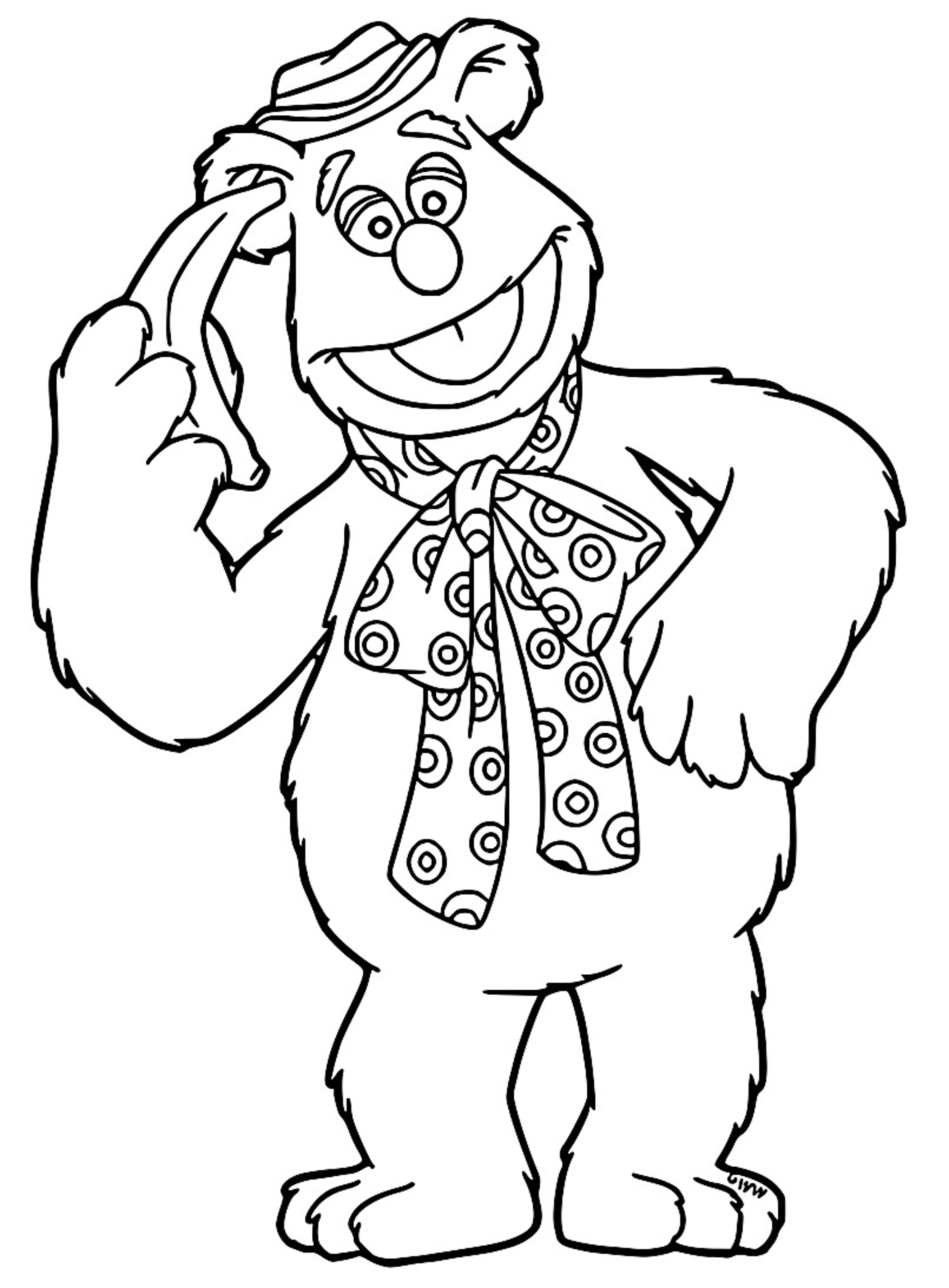 The Muppets fozzie Cartoon Coloring Page