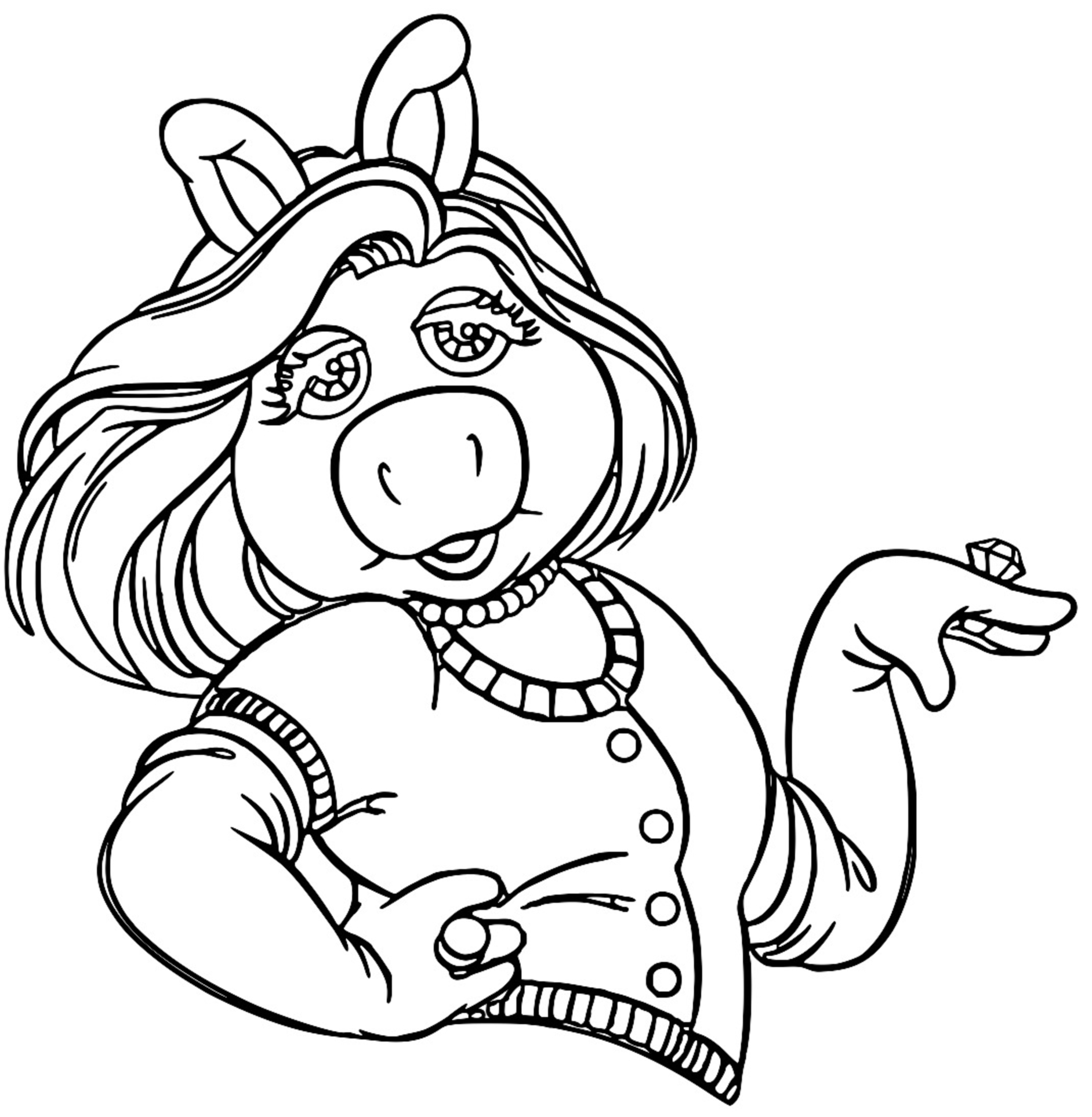 The Muppets miss piggy 3 Cartoon Coloring Page