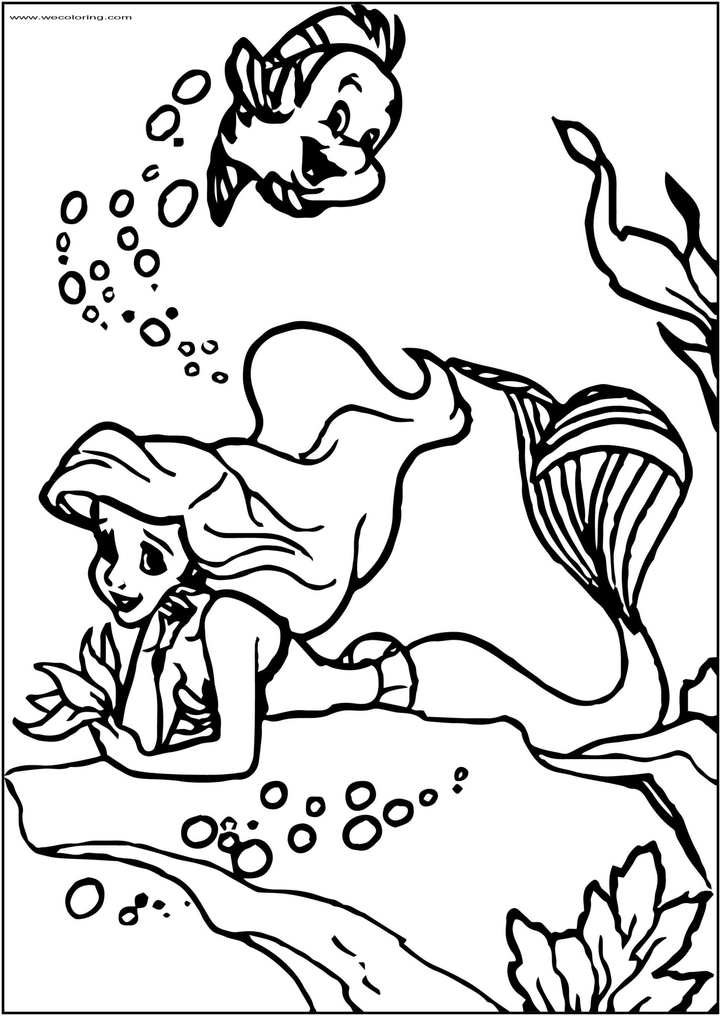 To Ariel Mermaid Free Printable Coloring Page