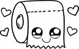 Toilet Paper Kawaii Coloring Page