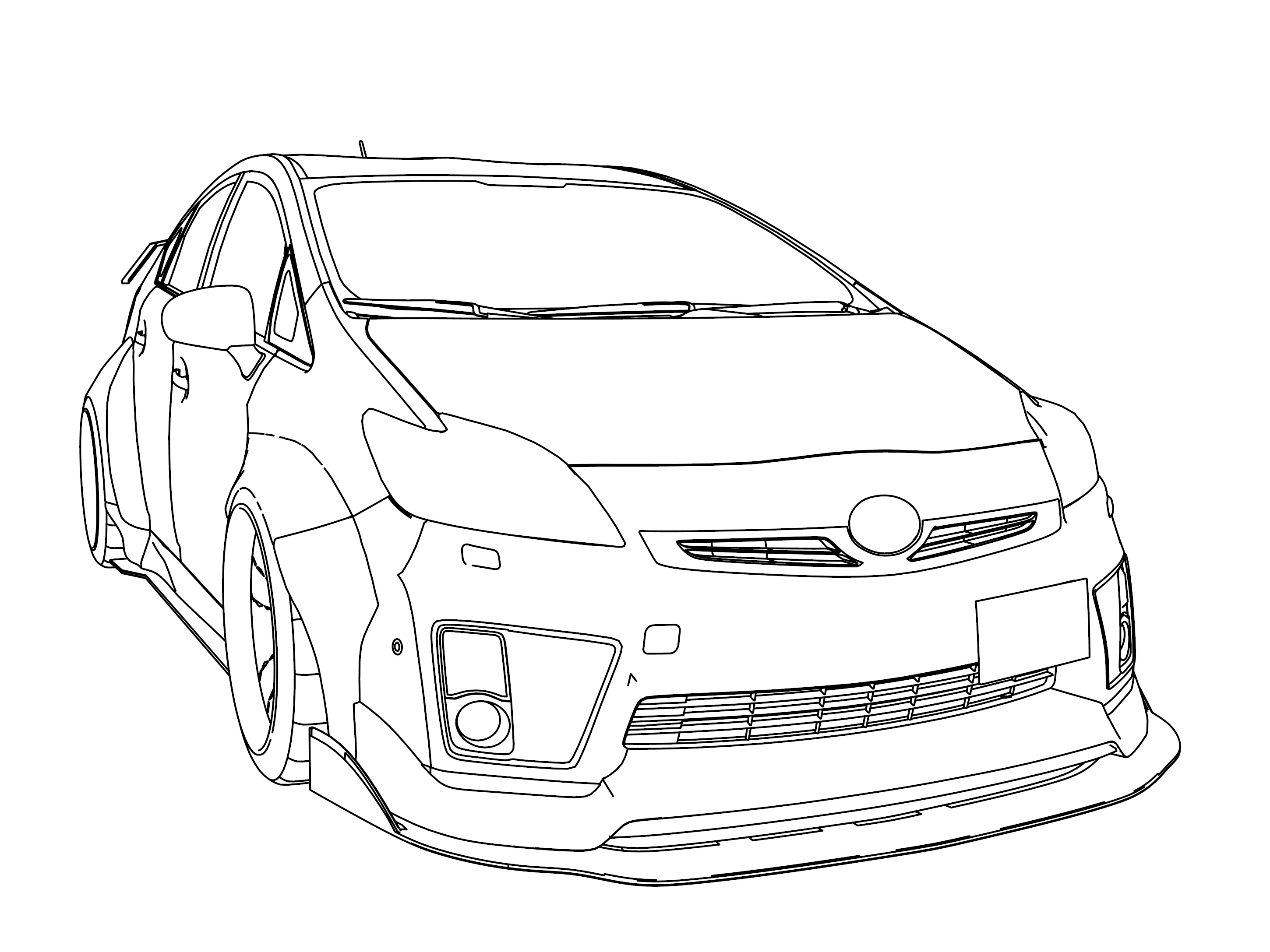 Toyota Prius LBW 2011 Perspective View Coloring Page