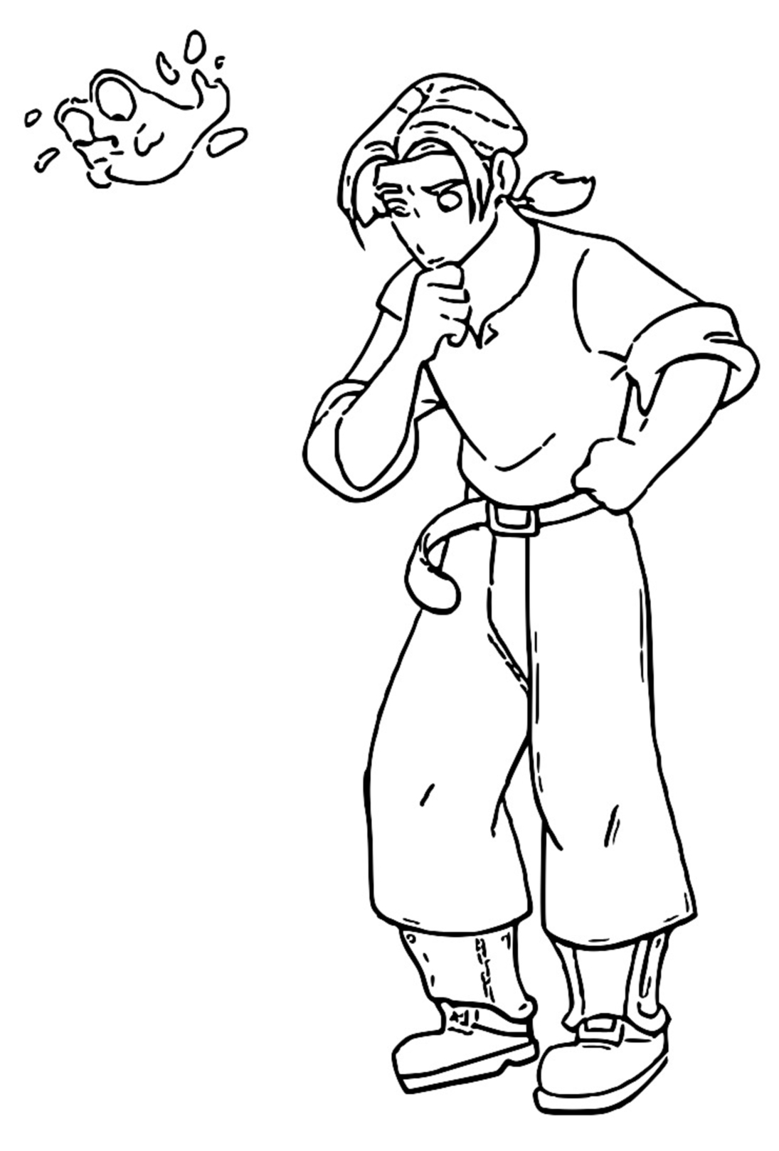 Treasure Planet thinking Coloring Pages_Cartoonized