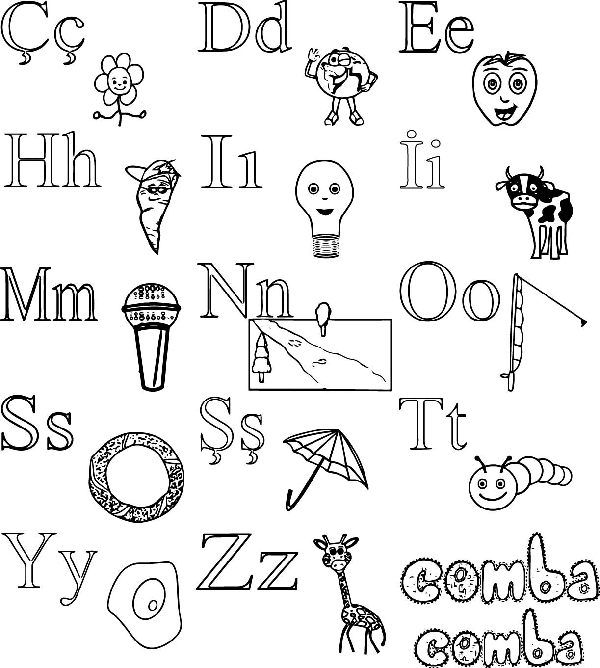 Turkish For Children Alphabet Coloring Page 02