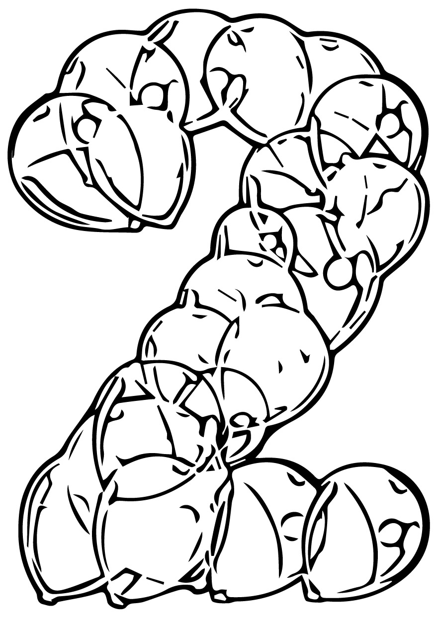 Two Number Of Balloons Coloring Page