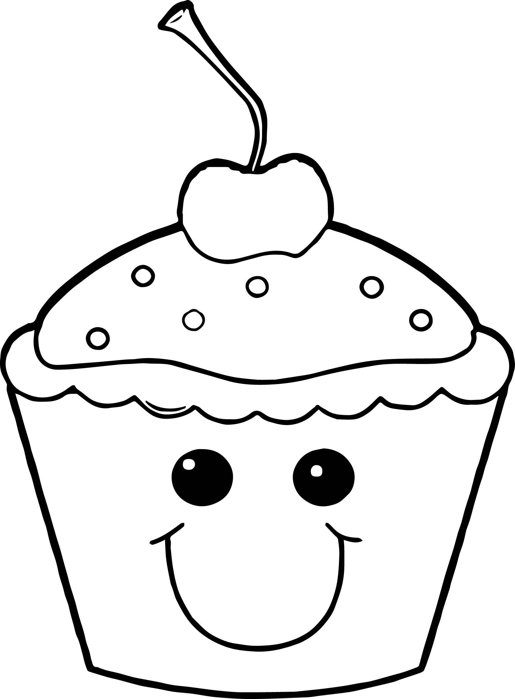 Very Cute Cartoon Smile Cupcake Coloring Page