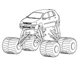 Volkswagen Golf with Monster Truck wheels coloring page