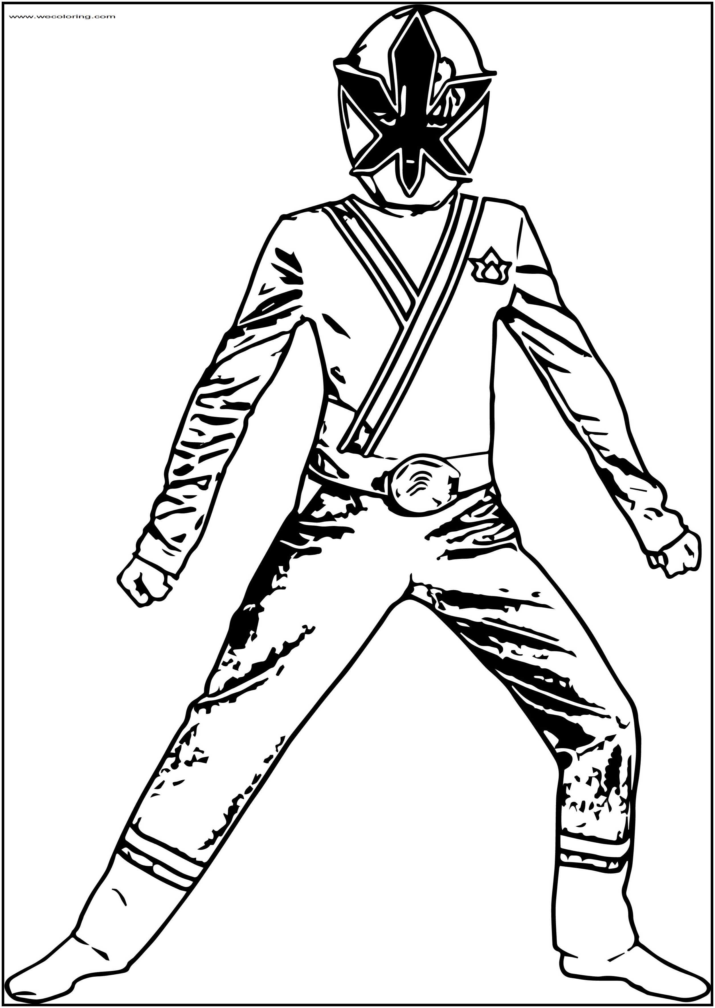 Waiting Ninja Power Rangers Free Printable Coloring Page