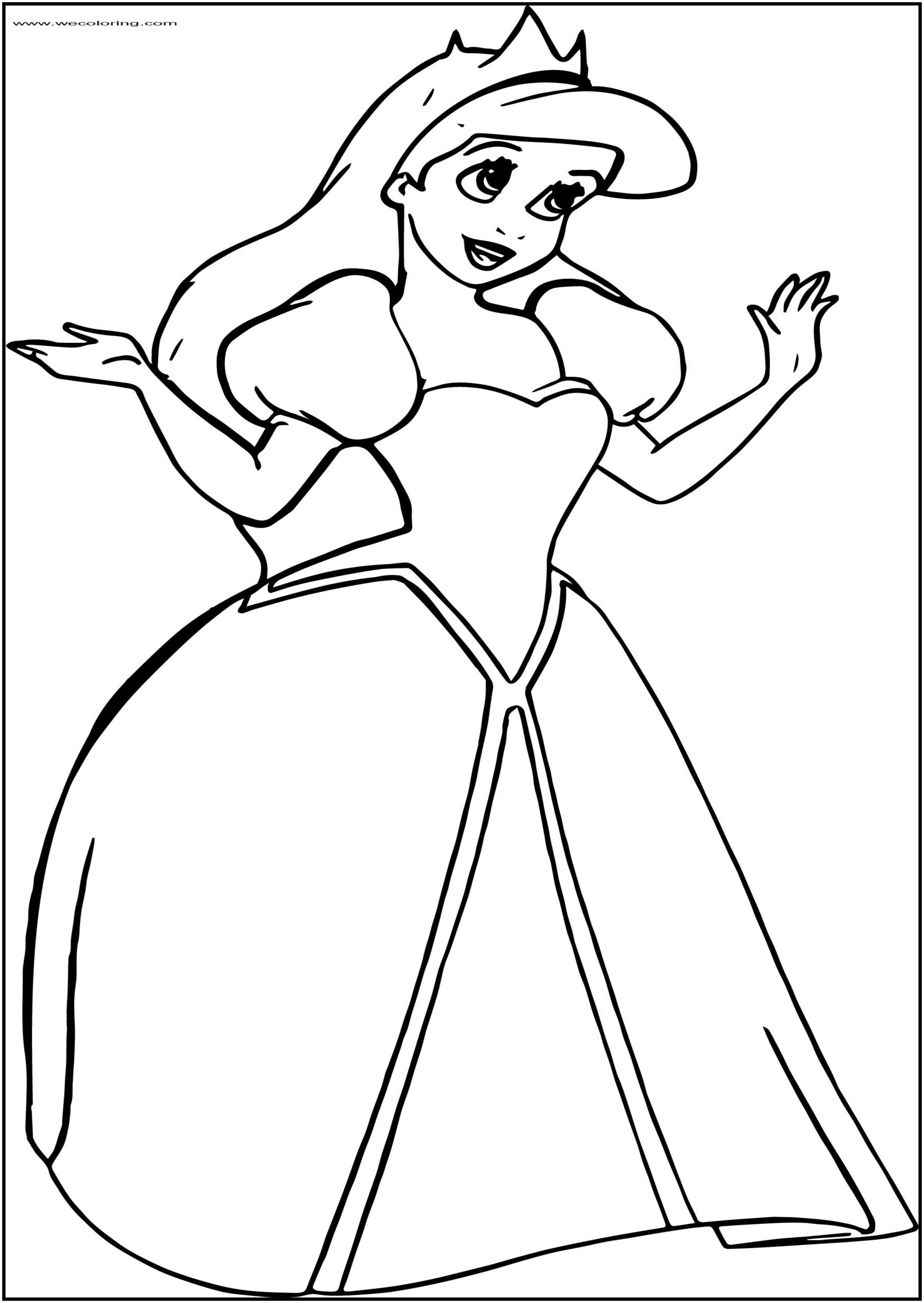 Wedding Princess Ariel Free Printable Coloring Page