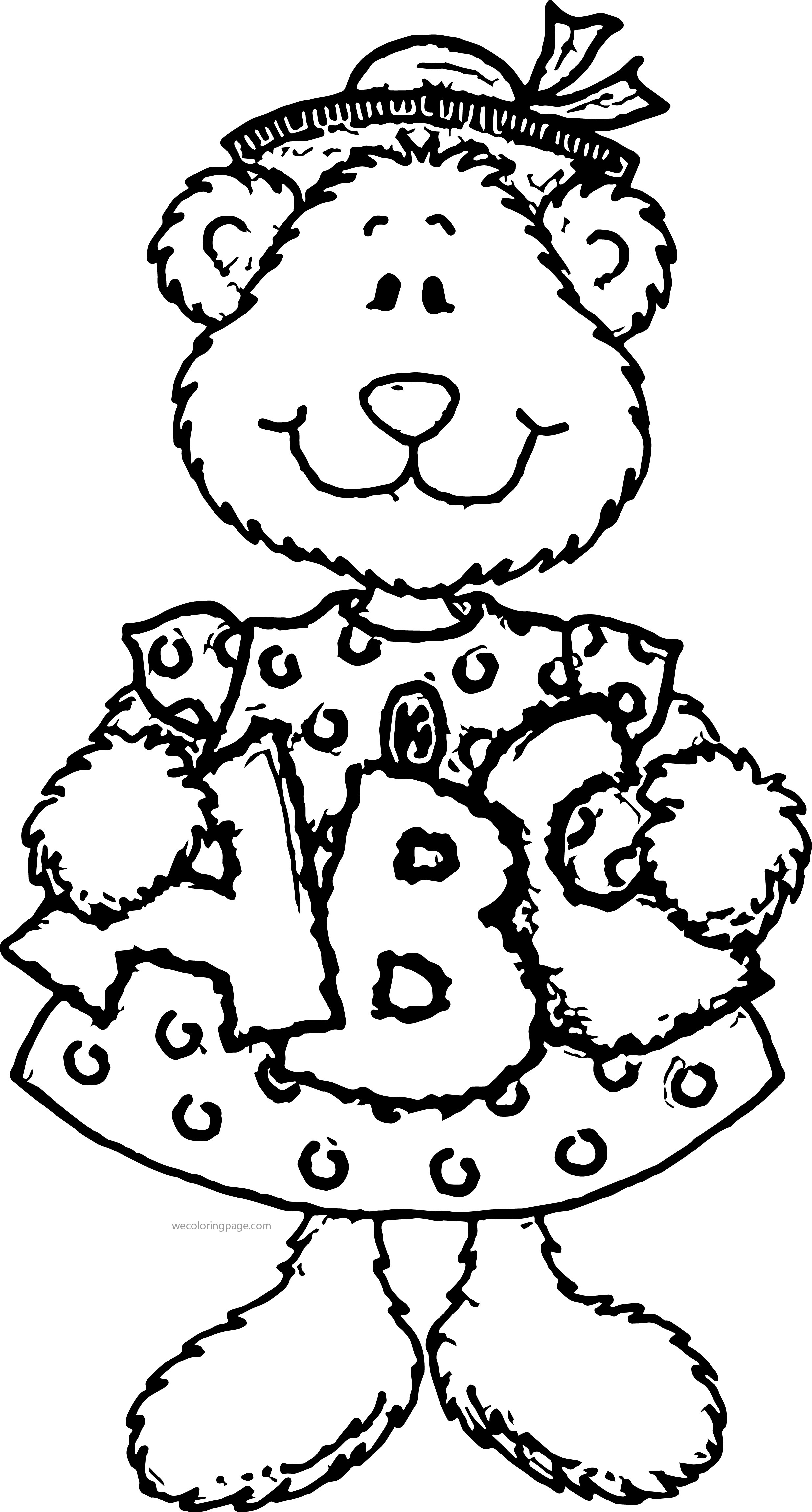 Woman Bear Hold On A B C ABC Alphabet Coloring Page