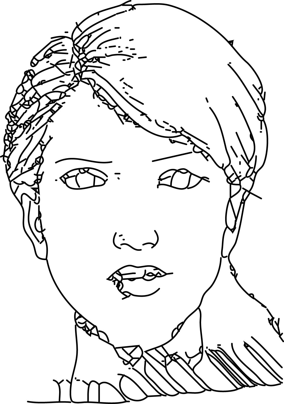 Woman Face Style Drawing Coloring Page