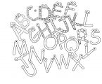 Wooden Colorful Cartoon 26 alphabet Coloring Page