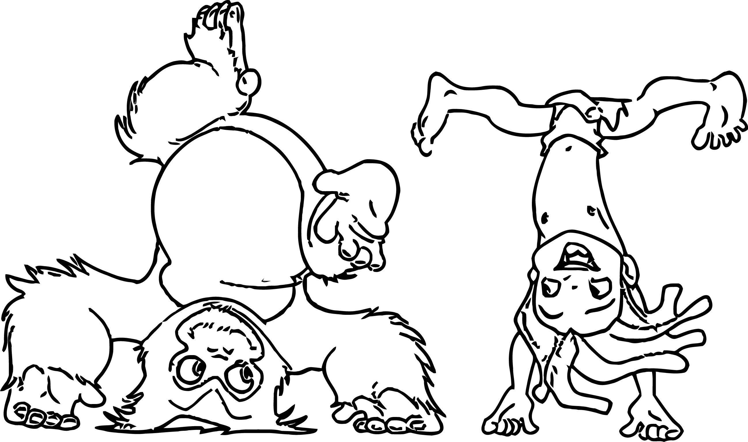 Young Tarzan Upsided Coloring Pages