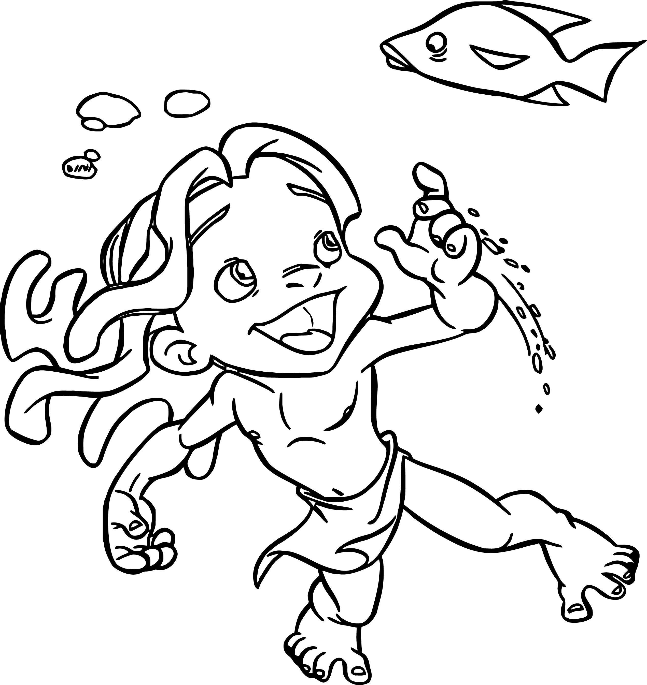 Young Tarzan Young Tarzan Swimming Coloring Pages