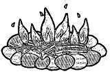 camp fire clear coloring page