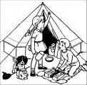 camping girl boy dog tent coloring page