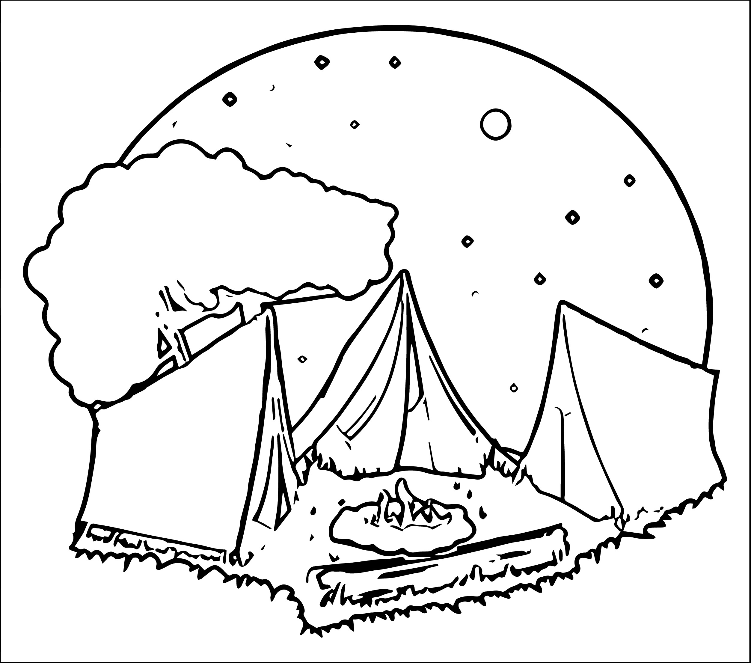 camping on the moon coloring page