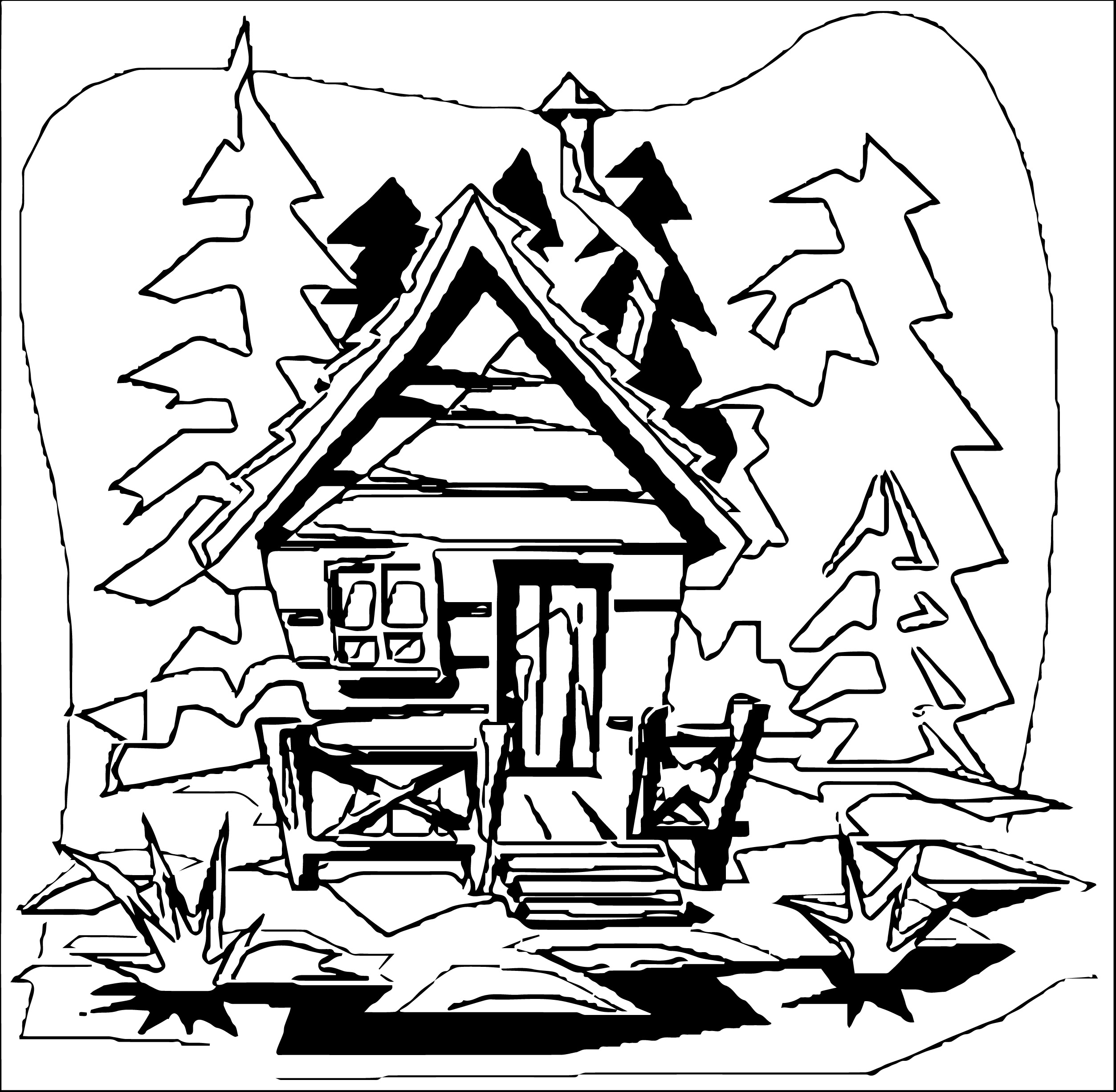 clip art mountain cabin coloring page