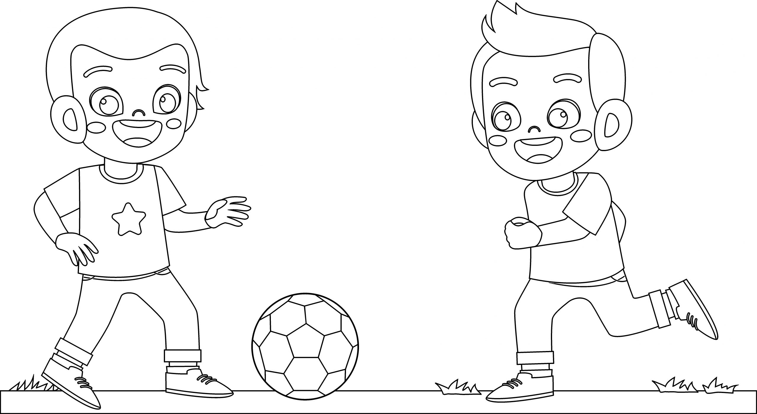 happy cute little kid boy play soccer coloring page