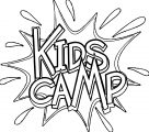kids camp camping text coloring page