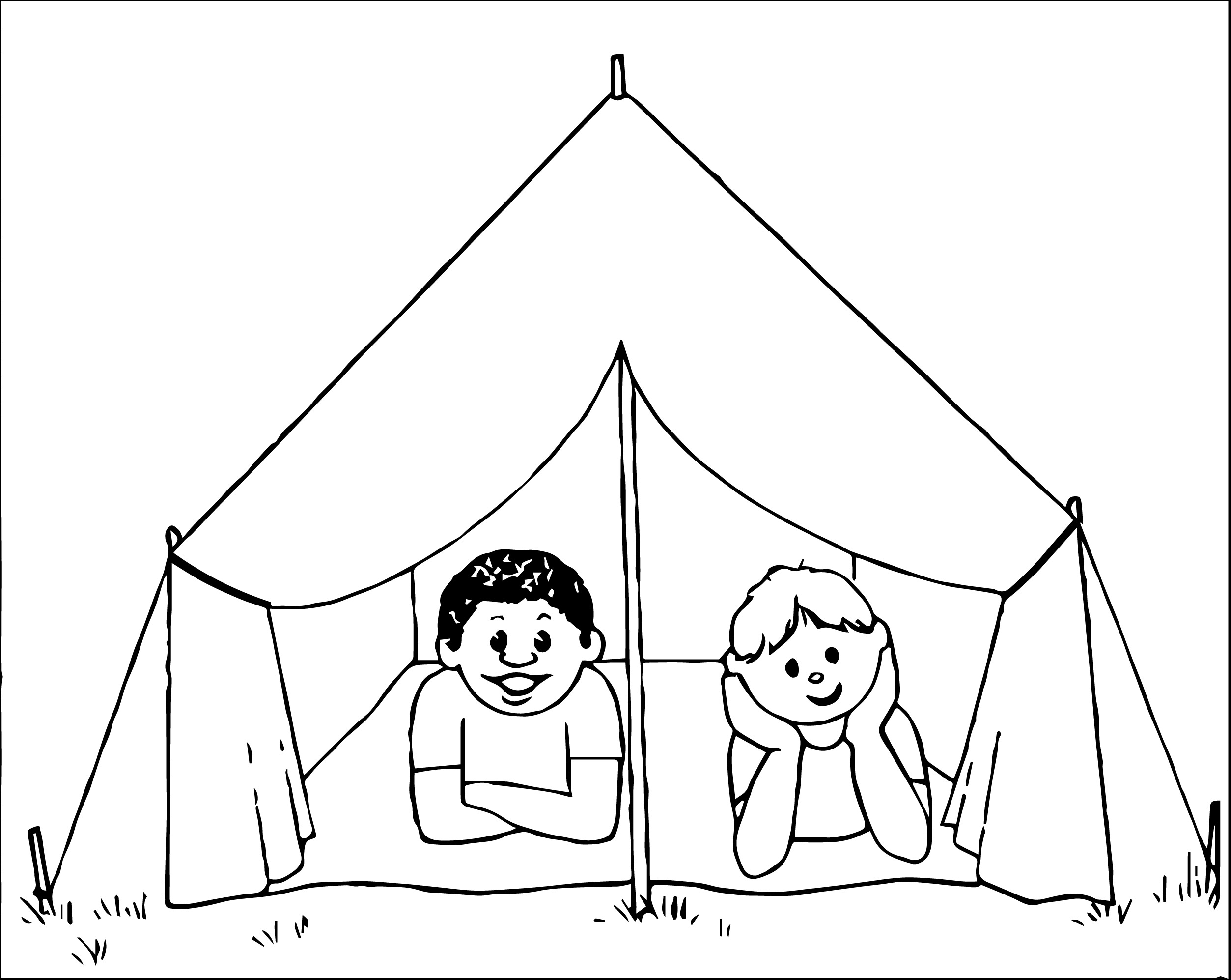 kids camping coloring page