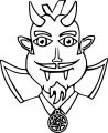 man vampire horns teeth coloring page