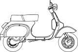 piaggio vespa scooter coloring page
