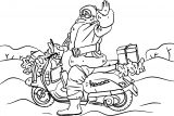 santa on a motorcycle coloring page