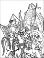 squid girl and creatures coloring pages