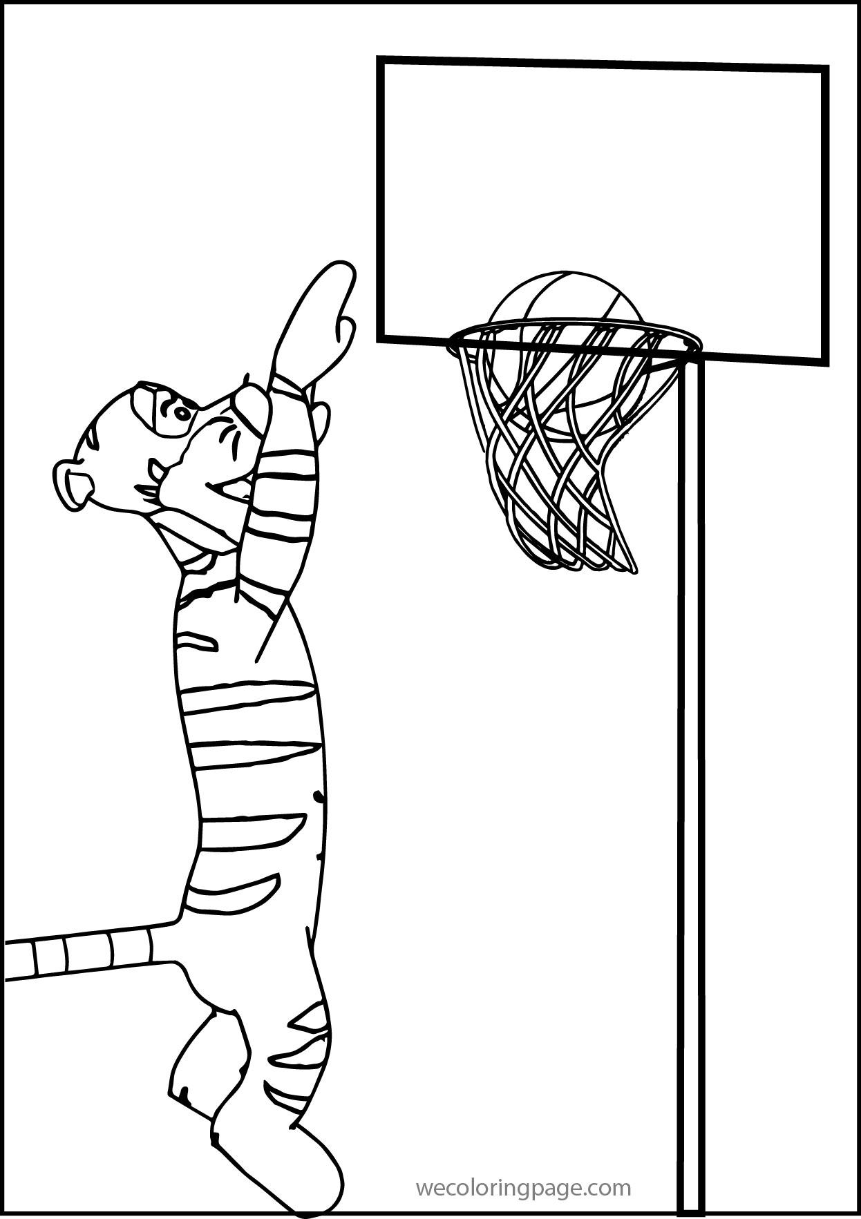tigger play basketball coloring page 01
