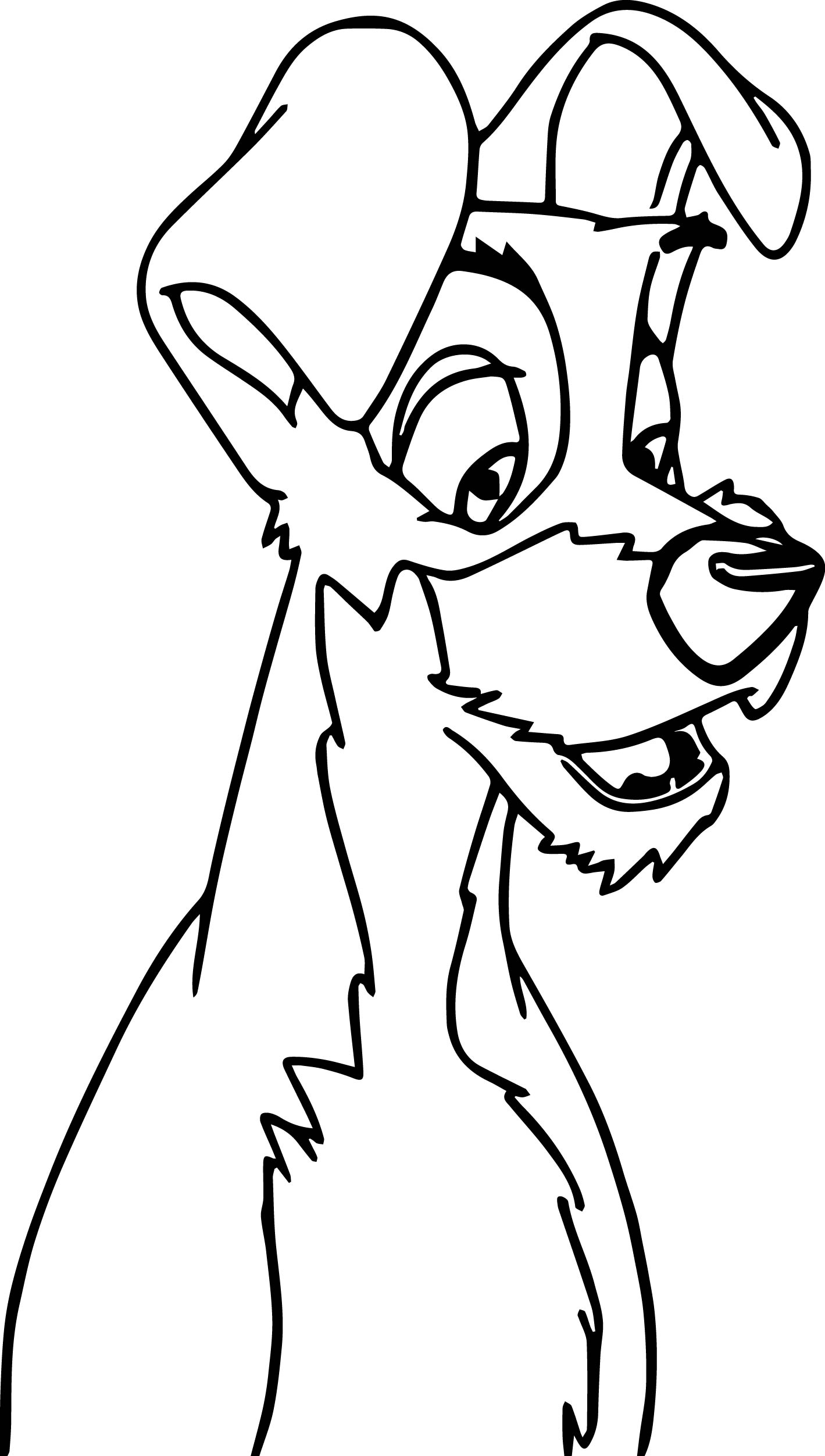 tramp dog smile coloring pages