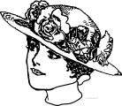 vintage woman straw hat with roses lace collar coloring page