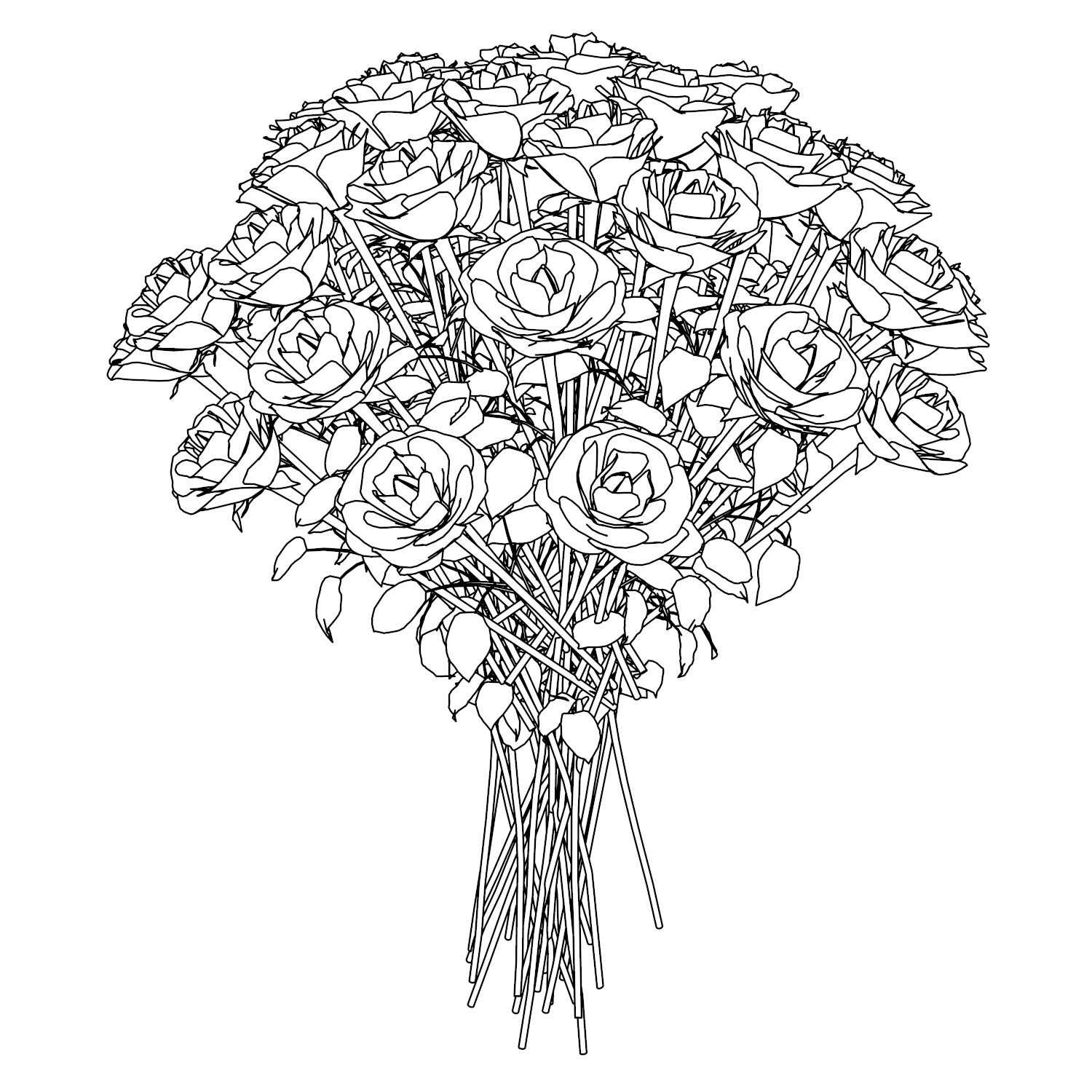 white roses coloring page