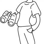 Binoculars Boy Coloring Page