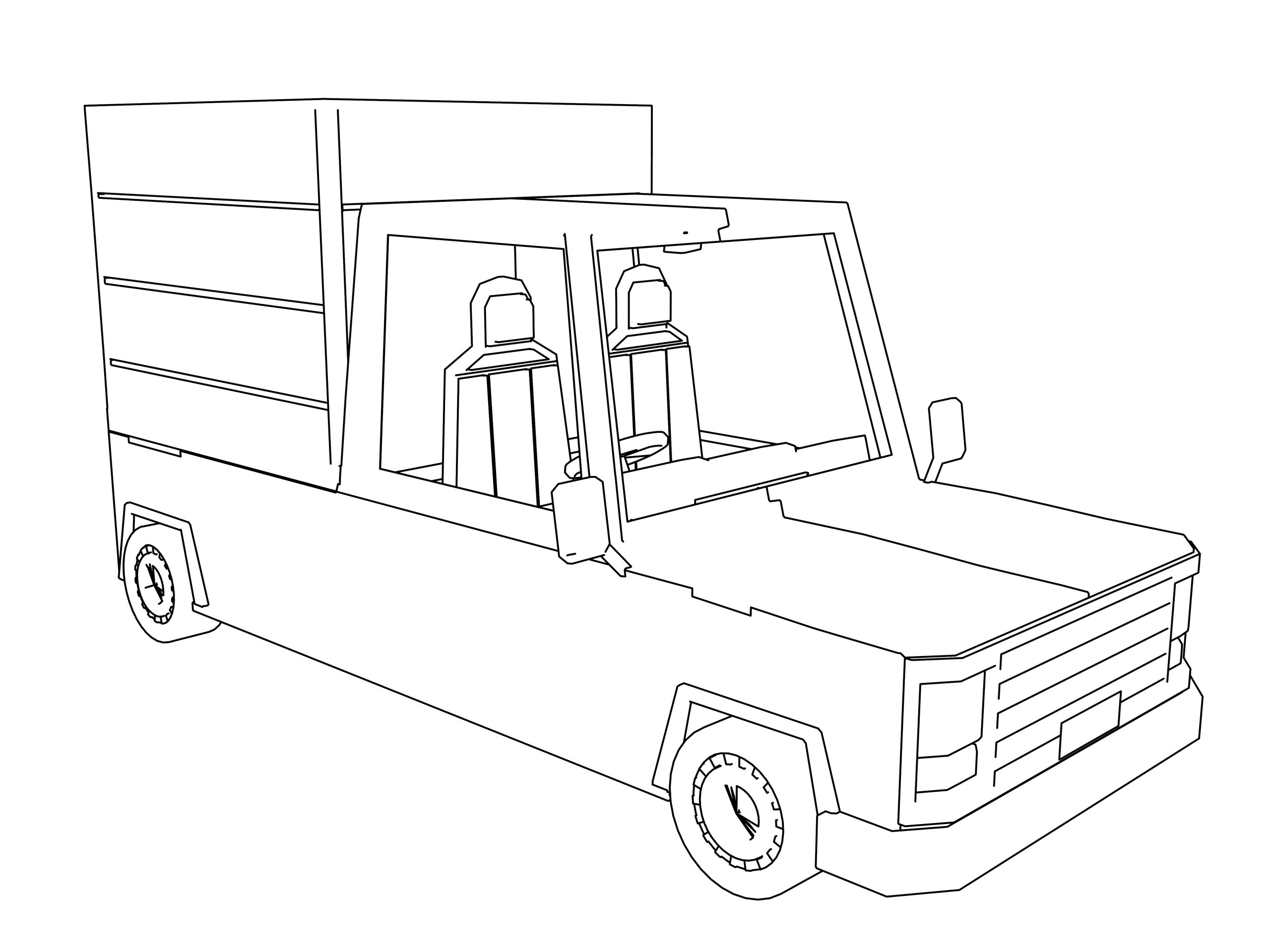 Cartoon Mini Truck Cars Coloring Page
